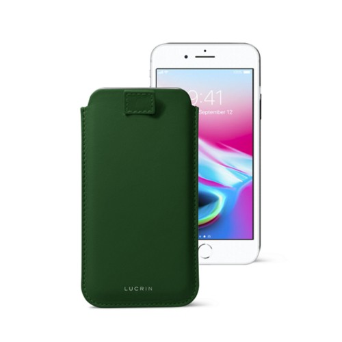 iPhone 8 case with pull-up tab - Dark Green - Smooth Leather