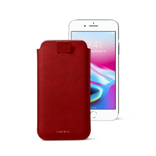 iPhone 8 case with pull-up tab - Carmine - Vegetable Tanned Leather