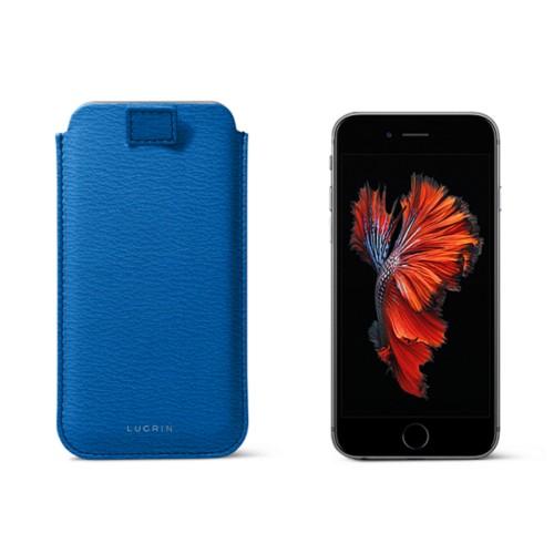 Bolsa para iPhone 6 Plus/6S Plus com presilha - Azul Real - Couro de Cabra