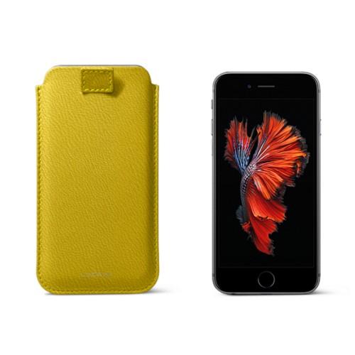 Bolsa para iPhone 6 Plus/6S Plus com presilha - Amarelo Limão - Couro de Cabra