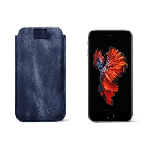 iPhone 6 Plus/6S Plus case with pull-up strap - Navy Blue - Metallic Leather