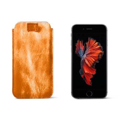 Étui tirette iPhone 6 Plus/6s Plus - Orange - Cuir Métallisé