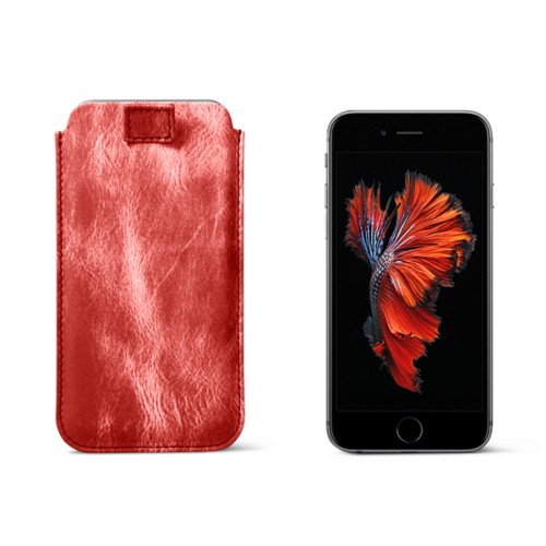 iPhone 6 Plus/6S Plus case with pull-up strap - Red - Metallic Leather