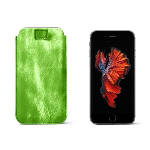 Funda para el iPhone 6 Plus/6s Plus con lengüeta - Verde claro - Piel Plata / Oro