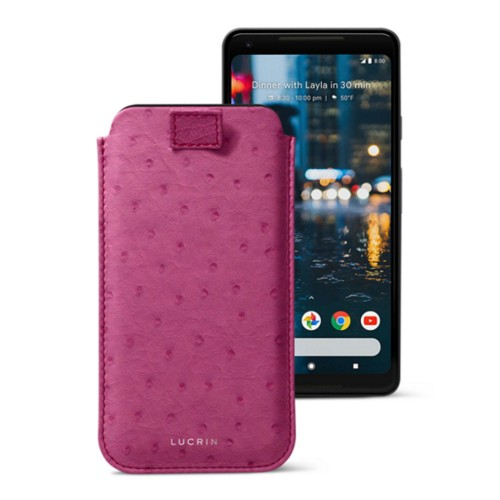 Google Pixel 2 XL pouch with pull-up strap - Fuchsia  - Real Ostrich Leather