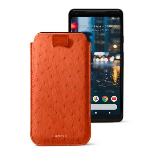 Google Pixel 2 XL hoesje met uittrek-lint - Oranje - Echt Struisvogelleer