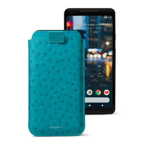 Google Pixel 2 XL pouch with pull-up strap - Turquoise - Real Ostrich Leather