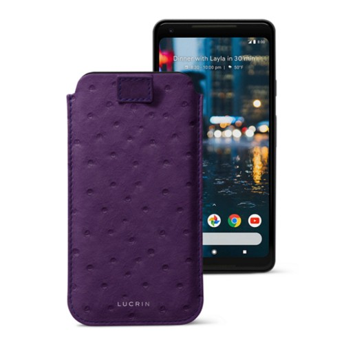 Google Pixel 2 XL pouch with pull-up strap - Purple - Real Ostrich Leather