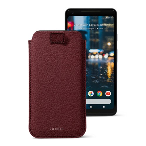 Google Pixel 2 XL pouch with pull-up strap - Burgundy - Goat Leather