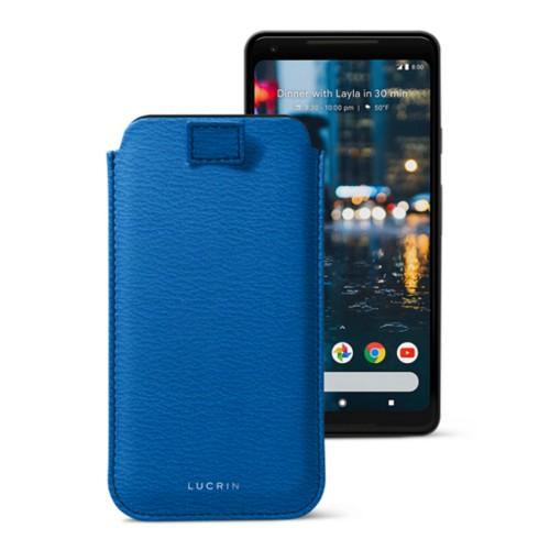 Google Pixel 2 XL hoesje met uittrek-lint - Koningsblauw - Geitenleer