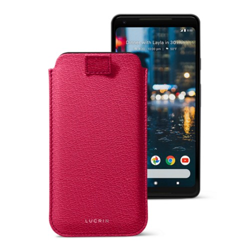 Google Pixel 2 XL pouch with pull-up strap - Fuchsia  - Goat Leather