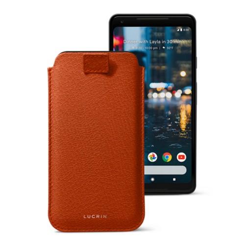 Google Pixel 2 XL hoesje met uittrek-lint - Oranje - Geitenleer