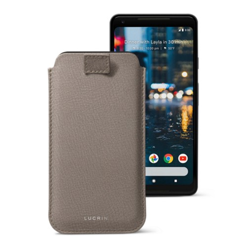 Google Pixel 2 XL pouch with pull-up strap - Light Taupe - Goat Leather