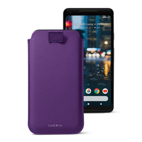 Google Pixel 2 XL pouch with pull-up strap - Purple - Goat Leather