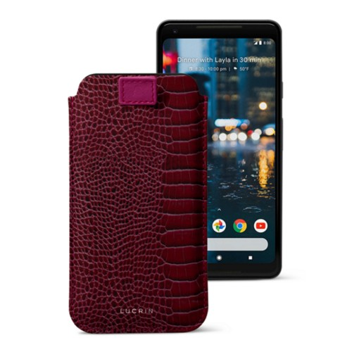 Google Pixel 2 XL pouch with pull-up strap - Fuchsia  - Crocodile style calfskin