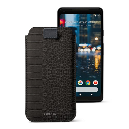 Google Pixel 2 XL pouch with pull-up strap - Mouse-Grey - Crocodile style calfskin