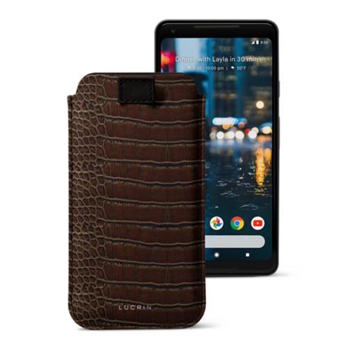 Google Pixel 2 XL hoesje met uittrek-lint - Donkerbruin - Krokodilstijl Kalfsleer