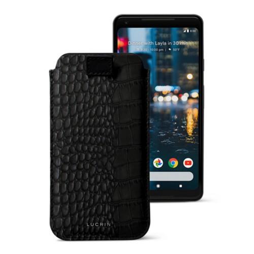 Google Pixel 2 XL hoesje met uittrek-lint - Zwart - Krokodilstijl Kalfsleer