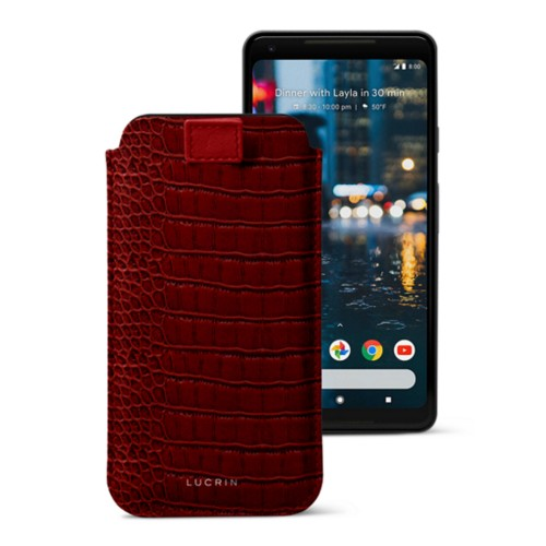 Google Pixel 2 XL pouch with pull-up strap - Red - Crocodile style calfskin