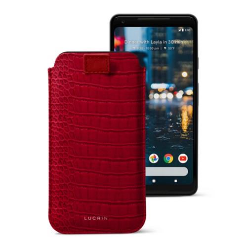 Google Pixel 2 XL hoesje met uittrek-lint - Rood - Krokodilstijl Kalfsleer