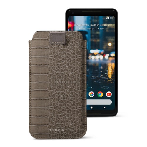 Google Pixel 2 XL pouch with pull-up strap - Light Taupe - Crocodile style calfskin