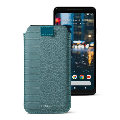 Google Pixel 2 XL pouch with pull-up strap - Turquoise - Crocodile style calfskin