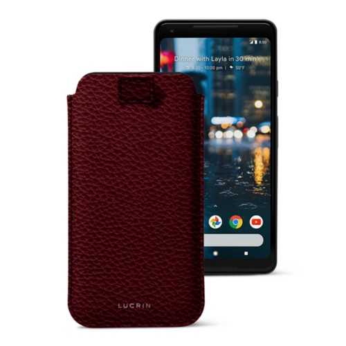 Google Pixel 2 XL pouch with pull-up strap - Burgundy - Granulated Leather