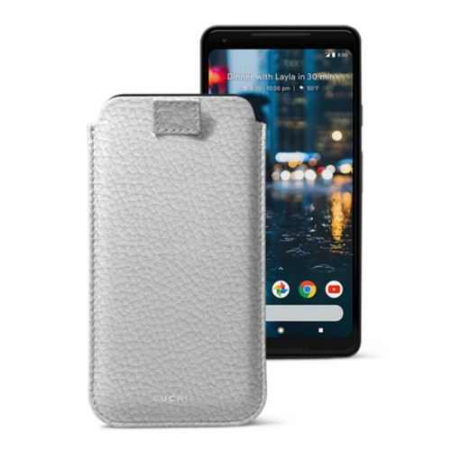 Google Pixel 2 XL pouch with pull-up strap - White - Granulated Leather