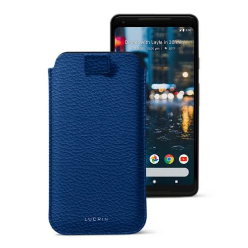 Google Pixel 2 XL hoesje met uittrek-lint - Koningsblauw - Korrelig Leer