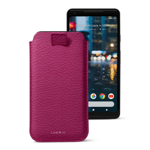 Google Pixel 2 XL pouch with pull-up strap - Fuchsia  - Granulated Leather