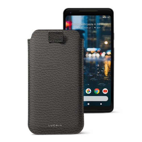 Google Pixel 2 XL pouch with pull-up strap - Mouse-Grey - Granulated Leather