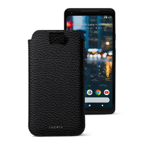 Google Pixel 2 XL hoesje met uittrek-lint - Zwart - Korrelig Leer