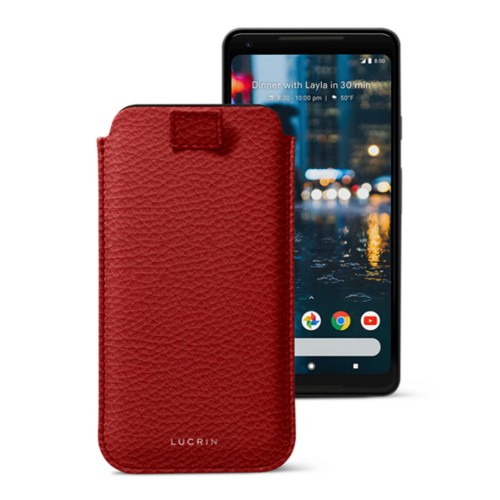 Google Pixel 2 XL pouch with pull-up strap - Red - Granulated Leather