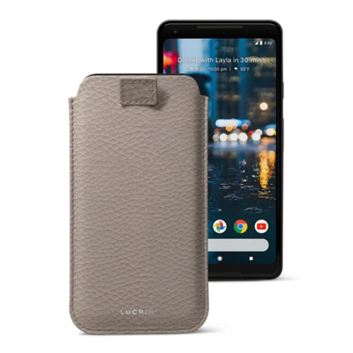 Google Pixel 2 XL pouch with pull-up strap - Light Taupe - Granulated Leather
