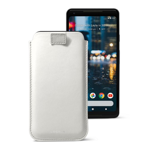 Google Pixel 2 XL pouch with pull-up strap - White - Smooth Leather