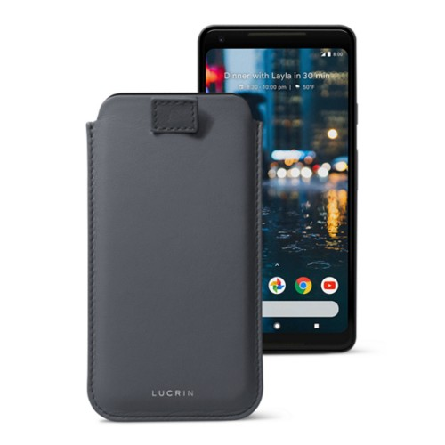 Google Pixel 2 XL pouch with pull-up strap - Mouse-Grey - Smooth Leather