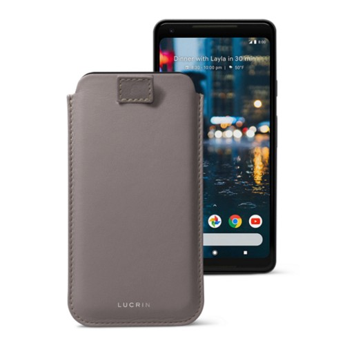Google Pixel 2 XL pouch with pull-up strap - Light Taupe - Smooth Leather
