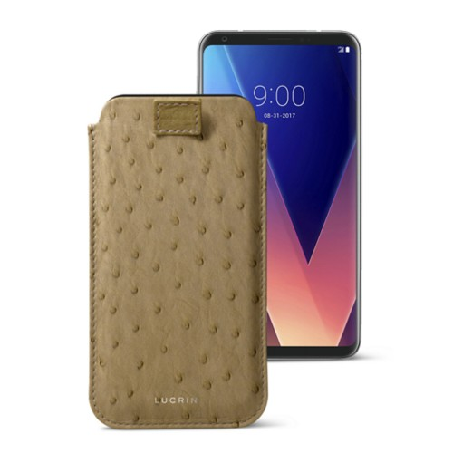 LG V30 case with pull-up tab - Beige - Real Ostrich Leather