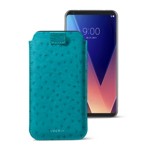 LG V30 case with pull-up tab - Turquoise - Real Ostrich Leather