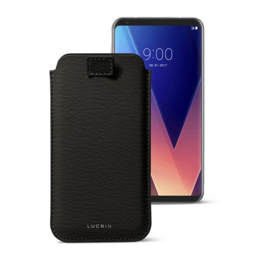 LG V30 case with pull-up tab - Mouse-Grey - Goat Leather