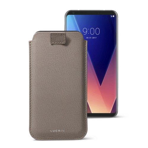 LG V30 case with pull-up tab - Light Taupe - Goat Leather