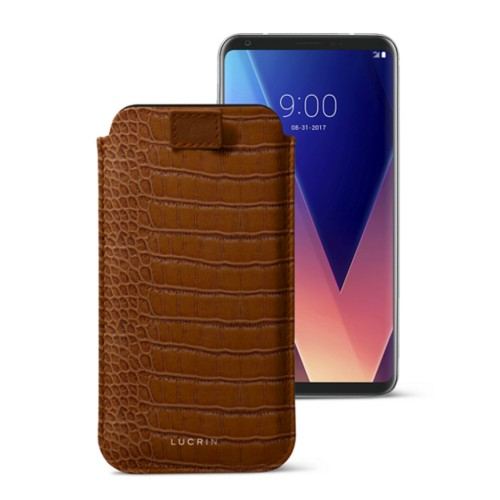 LG V30 case with pull-up tab - Camel - Crocodile style calfskin