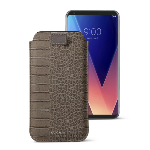 LG V30 case with pull-up tab - Light Taupe - Crocodile style calfskin