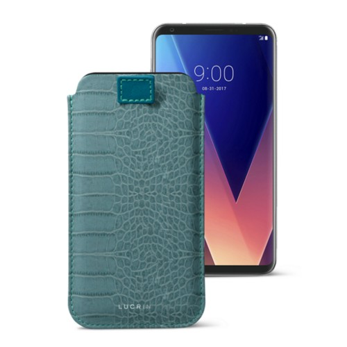 LG V30 case with pull-up tab - Turquoise - Crocodile style calfskin