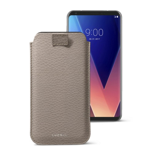 LG V30 case with pull-up tab - Light Taupe - Granulated Leather