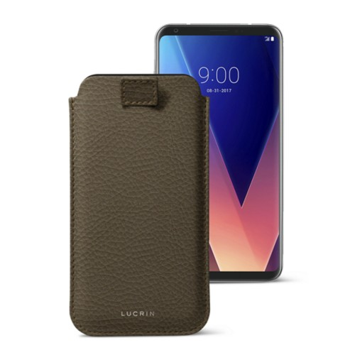 LG V30 case with pull-up tab - Dark Taupe - Granulated Leather