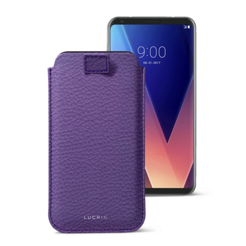 LG V30 用ケース プルアップタグ付 - Lavender - Granulated Leather