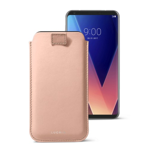LG V30 case with pull-up tab - Nude - Smooth Leather