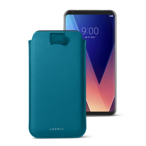 LG V30 case with pull-up tab - Turquoise - Smooth Leather