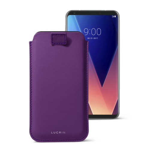 LG V30 用ケース プルアップタグ付 - Lavender - Smooth Leather